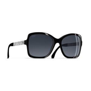 Square Winter Chanel Sunglasses. Black. Polarized.